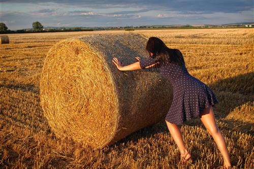 Woman pushing the haystack