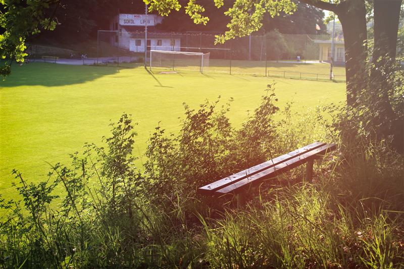 Bench at a football field